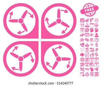 Copter Screws Rotation pictograph with bonus calendar and time management pictograph collection. Vector illustration style is flat iconic symbols, pink color, white background.