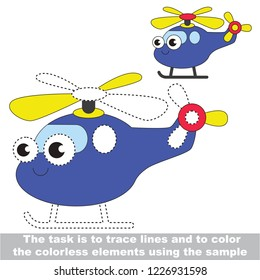 Copter toy transport. Fragment dot to dot educational game for kids.