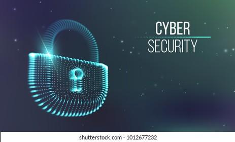 Coputer internet cyber security background. Cyber crime vector illustration. digital lock