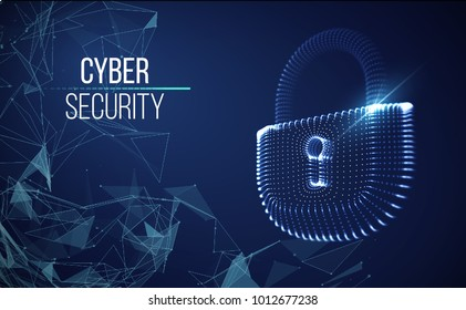 Coputer internet cyber security background. Cyber crime vector illustration. digital lock