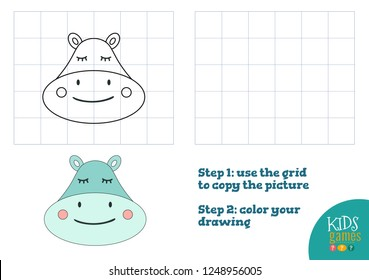 Copy and color picture vector illustration, exercise. Funny hippo cartoon head for drawing and coloring game for preschool kids
