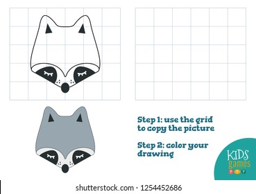 Copy and color picture vector illustration, exercise. Funny raccoon cartoon head for drawing and coloring game for preschool kids