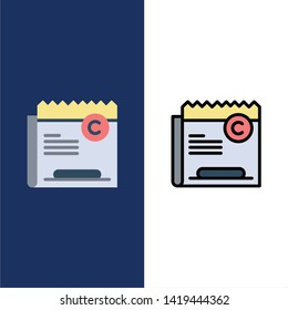 Copy, Copyright, Restriction, Right, File  Icons. Flat and Line Filled Icon Set Vector Blue Background