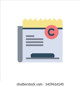 Copy, Copyright, Restriction, Right, File  Flat Color Icon. Vector icon banner Template