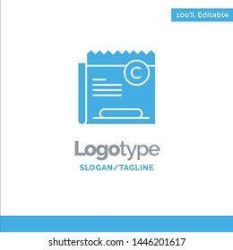 Copy, Copyright, Restriction, Right, File Blue Solid Logo Template. Place for Tagline