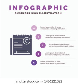 Copy, Copyright, Restriction, Right, File Solid Icon Infographics 5 Steps Presentation Background. Vector Icon Template background