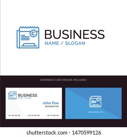 Copy, Copyright, Restriction, Right, File Blue Business logo and Business Card Template. Front and Back Design. Vector Icon Template background