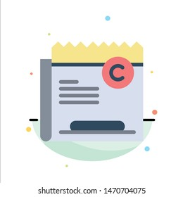 Copy, Copyright, Restriction, Right, File Abstract Flat Color Icon Template. Vector Icon Template background