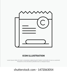 Copy, Copyright, Restriction, Right, File Line Icon Vector