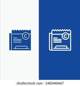 Copy, Copyright, Restriction, Right, File Line and Glyph Solid icon Blue banner Line and Glyph Solid icon Blue banner