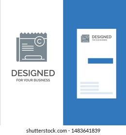 Copy, Copyright, Restriction, Right, File Grey Logo Design and Business Card Template