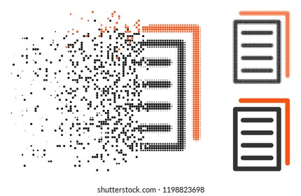 Copy document icon in disappearing, dotted halftone and undamaged entire versions. Elements are composed into vector dissolving copy document icon. Disappearing effect involves rectangular points.