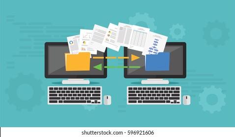 Copy File, Data Exchange. Transfer file concept