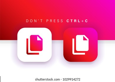 Copy icon. Duplicate icon. Documents icon. Square contained. Use for brand logo, application, ux/ui, web. Red design. Compatible with jpg, png, eps, ai, cdr, svg, pdf, ico, gif.