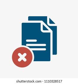 Copy icon, signs icon with cancel sign. Copy icon and close, delete, remove symbol. Vector illustration