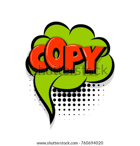 copy paste comic text speech bubble balloon pop art style wow banner message