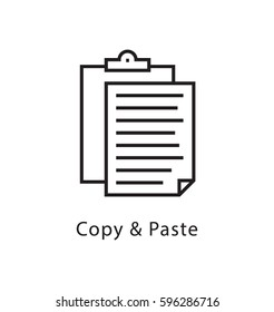 Copy and Paste Vector Line Icon