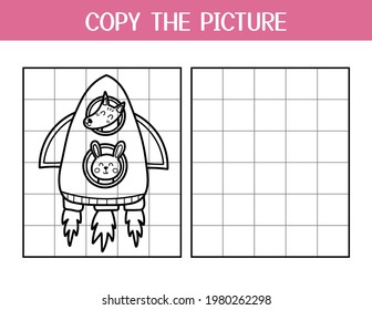 Copy the picture activity page for kids. Draw and color a cute fox and a rabbit in rocket. Space educational game template for school and preschool. Vector illustration