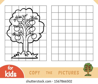 Copy the picture, education game for children, Apple tree