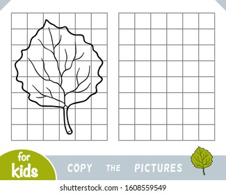 Copy the picture, education game for children, Aspen leaf