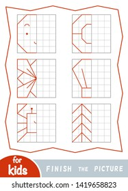 Copy the picture, educational game for children. Finish the picture by dots.