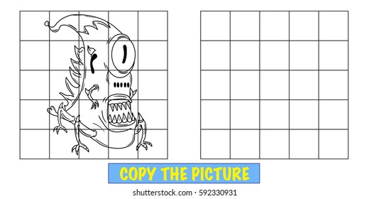Copy the picture fun activity for kids. Learn to draw. A crazy funny looking alien or monster.
