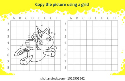 Copy the picture using a grid. Educational game for children. How to draw flying cute cartoon unicorn