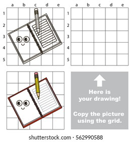 Copy the picture using grid lines, the simple educational game for preschool children education with easy gaming level, the kid drawing game with Copybook.