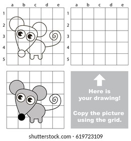 Copy the picture using grid lines, the simple educational game for preschool children education with easy gaming level, the kid drawing game with Mouse