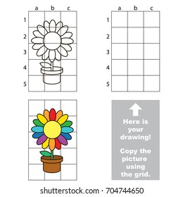 Copy the picture using grid lines, the simple educational game for preschool children education with easy gaming level, the kid drawing game with Rainbow Pot Flower