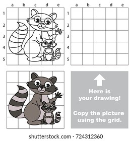 Copy the picture using grid lines, the simple educational game for preschool children education with easy gaming level, the kid drawing game with Mother and her Baby Raccoon