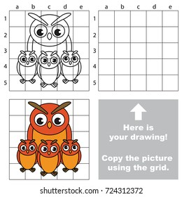 Copy the picture using grid lines, the simple educational game for preschool children education with easy gaming level, the kid drawing game with Mother and her Baby Filin Owl