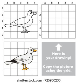 Copy the picture using grid lines, the simple educational game for preschool children education with easy gaming level, the kid drawing game with Seagull