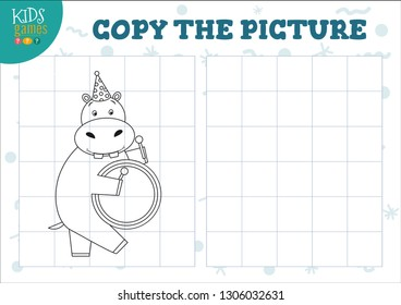Copy picture vector illustration. Educational game for preschool kids. Cartoon outline hippo drummer for drawing