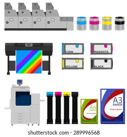 Copy and polygraph equipment. Business press machines. Color media collection. Color Ink and cartridge. Paper for laser and ink print. Copy and scan. Laser, ink, offset machine.  Publisher industry.