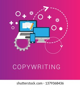"""copy writing concept - documents flat icon  - copy documents Illustration.vector graphic and web design with text """"copy writing"""""""