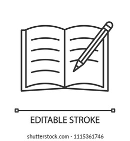 Copybook with pencil linear icon. Thin line illustration. Taking notes. Notepad. Contour symbol. Vector isolated outline drawing. Editable stroke