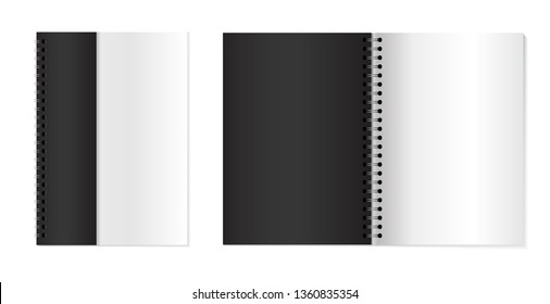Copybooks with metallic silver spiral. Set of Vector 3d opened notebooks. Notebooks mock up for your design