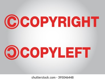 copyright copyleft text label stamp for documents vector.