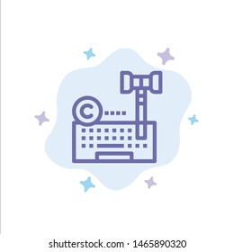 Copyright, Digital, Internet, Law, Lawyer Blue Icon on Abstract Cloud Background. Vector Icon Template background