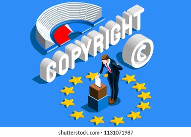 Copyright European Regulation. European Union Parliament voting content property copyright law. Europe author rights protection vote. EU flag Flat isometric vector illustration.