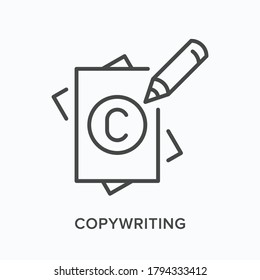 Copyright flat line icon. Vector outline illustration of paper, pencil and C sign. Copywriting thin linear pictogram.