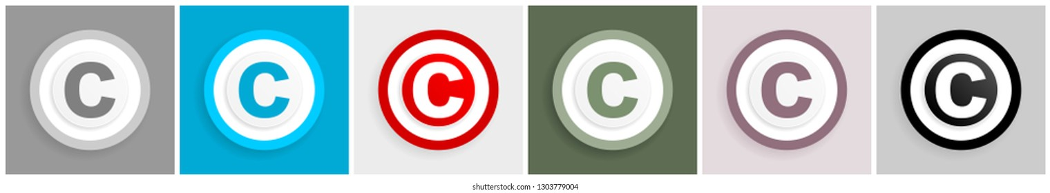 Copyright icon set, vector illustrations in 6 options for web design and mobile applications