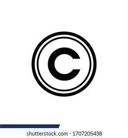Copyright icon symbol vector illustration