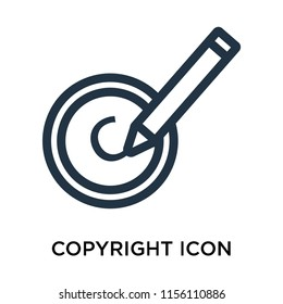 Copyright icon vector isolated on white background, Copyright transparent sign , thin symbol or stroke element design in outline style