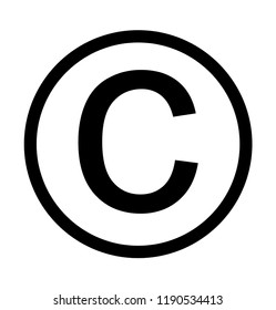 Copyright intellectual property symbol, isolated on white background