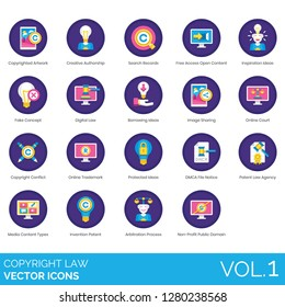Copyright law icons including authorship, inspiration, fake concept, image sharing, conflict, trademark, DMCA file notice, agency, media types, invention patent, arbitration process, public domain.