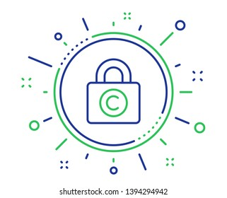 Copyright locker line icon. Copywriting sign. Private Information symbol. Quality design elements. Technology copyright locker button. Editable stroke. Vector