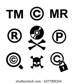 Copyright and piracy icon set vector