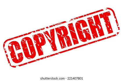 Copyright red stamp text on white